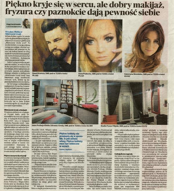 Mistrzowie urody 2018 - Kosmetyczka Roku - Najlepsza kosmetyczka we Wrocławiu oraz na Dolnym Śląsku - Katarzyna Słomińska.